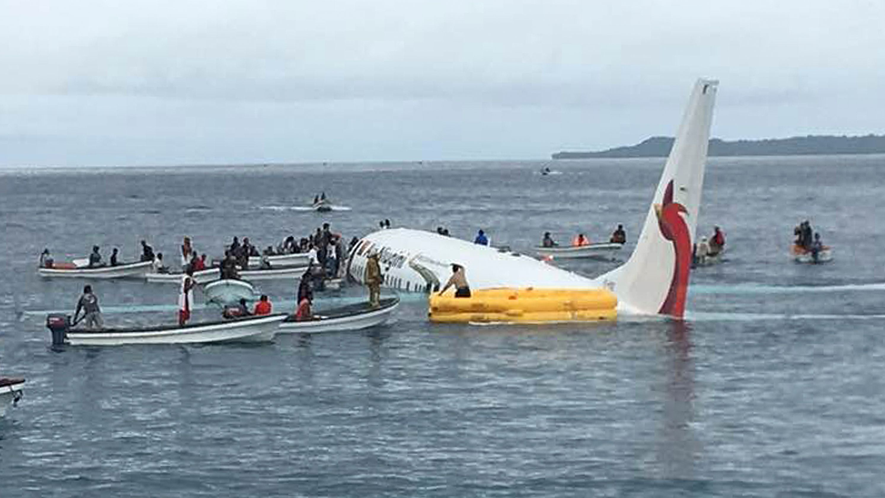 Plane crash in the ocean.