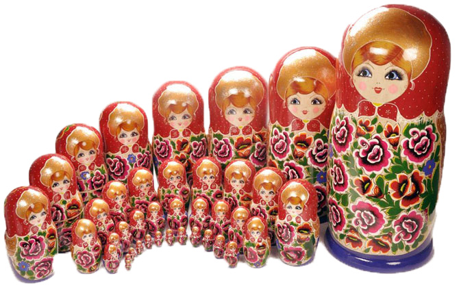 A large set of Matryoshka dolls